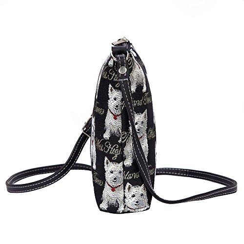 Modische Tapisserie Damen Schlingetasche oder Messengertasche Westie
