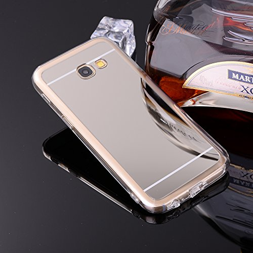 Samsung Galaxy A3 2016 A310 Hülle,Xinyunew Silikon Spiegel Mirror Schutzhülle für Samsung Galaxy A3 2016 A310 Case Crystal Rose Gold Durchsichtige TPU Bumper Samsung Galaxy A3 2016 A310 Handyhülle [Ge Silber