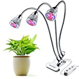 Three-Head LED Plant Lights 15W Plant Grow Light Red Blue Hydroponic Plant Growing Lamp with 360 Degree Flexible Gooseneck and Three Separate Control Switches for Indoor Greenhouse Hydroponics Garden Plants (Three-Head LED Plant Lights)