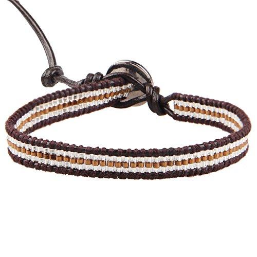 Womens Brown Importiert (KELITCH Leder Armband Braun Silber Zweifarbige Rocailles Perlen Sommer Bewegung Manschetten - Dunkelbraun Leder)