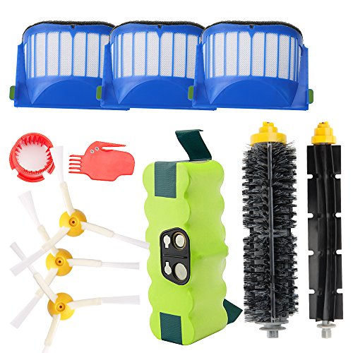 Neues Update Ersatz Ni-MH 3800mAh Akku für iRobot Roomba + Brush Kit für iRobot Roomba 600 Serie - von Horleora