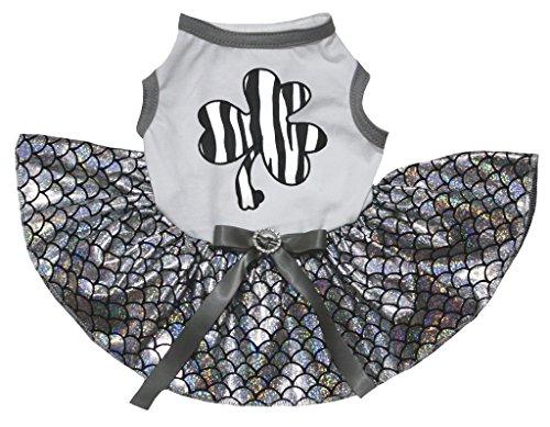 (petitebelle Pet Supply Zebra Clover Weiß T-Shirt Silber Maßstab Mermaid Hund Kleid)