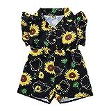 Julhold Kleinkind Kinder Baby Mädchen Freizeit Rüschen Sunflower Print Strampler Overall Baumwolle Overall Sommer 0-3 Jahre