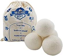 4 bolas XL de lana para la secadora. Bolas para la colada 100% lana de Nueva Zelanda. Suavizante natural, eliminan la electricidad estática. Alternativa a las bolas de plástico o pelotas de tenis. No requiere uso de suavizante, aptas para alérgicos.