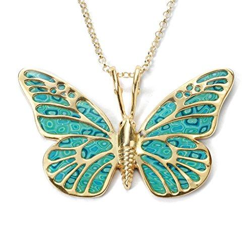 Collier Pendentif Papillon - Bijoux Fimo et Argent fin Plaqué Or fait main, Chaine en Or Laminé 42cm Turquoise