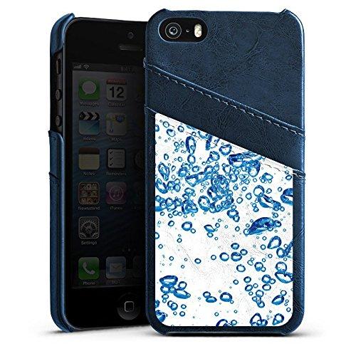 Apple iPhone 4 Housse Étui Silicone Coque Protection Eau Water Bulles Étui en cuir bleu marine