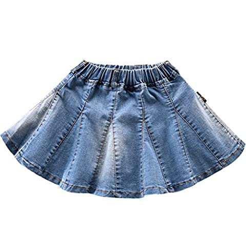 NABER Girls Pleated Big A-line Denim Jeans Blue Skirts Age 4-5 years