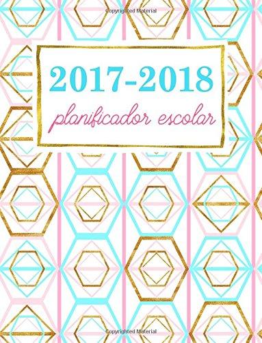 Planificador escolar: Organizador académico semanal: rosa y turquesa con toques dorados (Organizadores para instituto, facultar y universidad) Rosa Toque