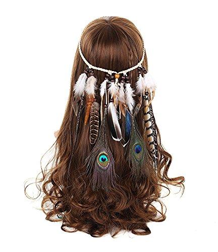 Femme Bandeau Cheveux Hippie Cavanal avec Plume Perle Gland Coiffure Cosplay (F67-blanc)