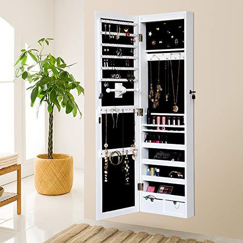 Mirror jewelry armoire armadietti portagioie armadietto per gioielli armadio con serratura per porta a muro organizzatore con specchio e led 2 cassetti bianco