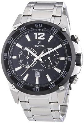 Reloj Festina Sport F16680/4 de cuarzo para hombre, correa de acero inoxidable color plateado (cronómetro) de Festina