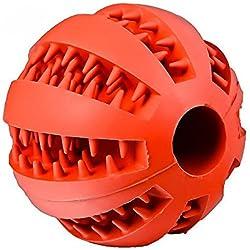 Cdet Juguetes para perros mascotas pelota de sandía resistente al caucho perro limpio tartar bola interactiva para mascotas perros masticar jugar traning ejercicio Rojo