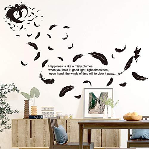 YzybzSchwarz Farbe Federn Engel Wandaufkleber Zitate Pvc Material Diy Wandtattoos Für Wohnzimmer Schlafzimmer Dekoration