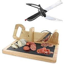Trancheuse guillotine à Saucisson avec ardoise pour charcuterie préparation apéritif et tapas + couteau planche clever cutter 2 en 1 offert