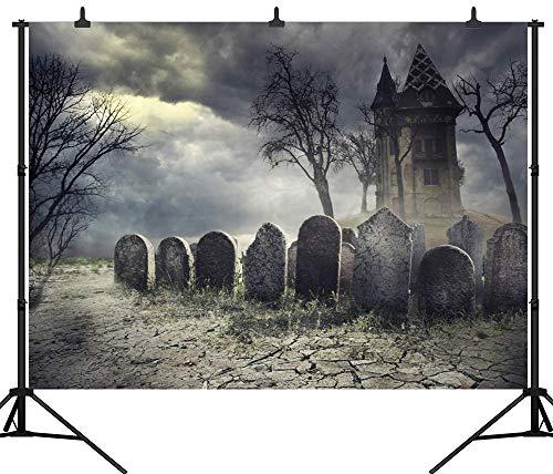 JoneAJ PGT265B Fotohintergrund, 270 x 180 cm, Halloween-Friedhof, personalisierbar, nahtlos, Vinyl