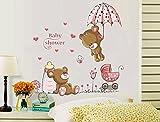 ufengke home Wandsticker Bären Baby Dusche Thema Cartoon mit Regenschirm, Babyflasche & Wandtattoo Kinderwagen Abnehmbare DIY Vinyl Wandaufkleber für Kinderzimmer,Schlafzimmer