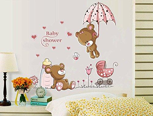 cker Bären Baby Dusche Thema Cartoon mit Regenschirm, Babyflasche & Wandtattoo Kinderwagen Abnehmbare DIY Vinyl Wandaufkleber für Kinderzimmer,Schlafzimmer ()