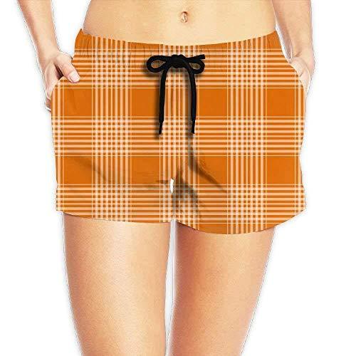 ERCGY Women's Elastic Waist Casual Beach Shorts Drawstring Orange Plaid Shorts Swim Trunks,XXL Plaid Cropped Pants