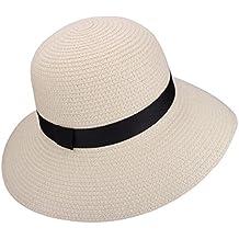YOPINDO Sombrero de Paja para Mujer UPF 50+ Big Brim Sombrero de Playa  Plegable Summer 94159f1d439