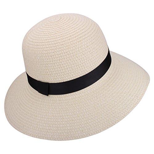 50 + Big Brim Faltbare Sommer Strand Floppy Sonnenhut (9203 Weiß) (Mädchen Weiße Sonne Kleider)