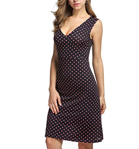 ANGVNS Damen V-Ausschnitt Wickelkleid 50er Vintage Kleid Polka Dots Sommerkleid Knielang -