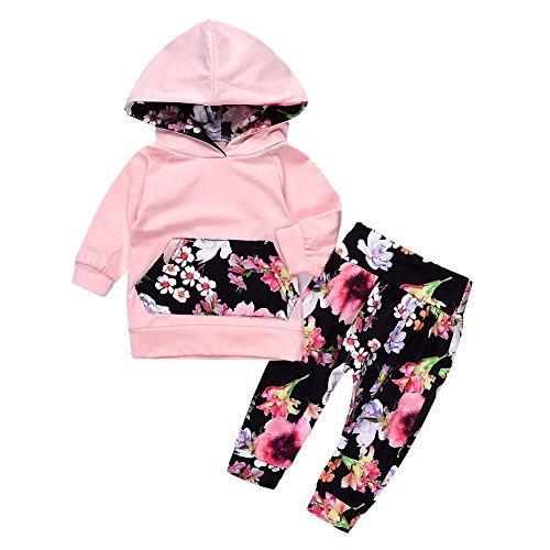 Allouli Toddler Newborn Baby Girls Floral Hoodie+ Floral Pant Leggings 2 Piece Set Outfits (Floral Set Pant Cropped)
