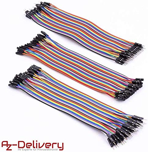 AZDelivery Jumper Wire Kabel 3 x 40 STK. je 20 cm M2M/ F2M / F2F für Arduino und Raspberry Pi Breadboard -