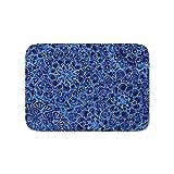 Ntpclsuits Periwinkle Blue Ballpoint Pen Lace Doodle Bath Mat 23.6