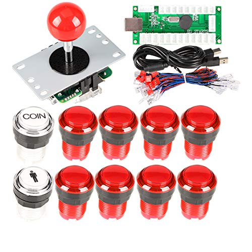 EG Starts Arcade Contest DIY Kits USB Controller + 8 Way Joystick + 30 mm Full Color LED Beleuchtet Push Button Switch 1 Spieler & Münze Tasten für Arcade PC Mame Spiele & Raspberry Pi Spiel - Rot