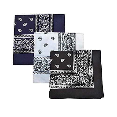 mechaly Damen Paisley Baumwolle Bandanas–3Pack Gr. One size, 3 Mixed (Black/Blue/White) (Blue Paisley Bandanas)