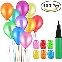 100 Ballons Colorés avec la Pompe, Assortiment de Ballons, Vegbirt Ballons de Fête de Couleur avec Pompe à Ballon et 6 Ruban de Satin pour Fêtes, Anniversaire, Mariage
