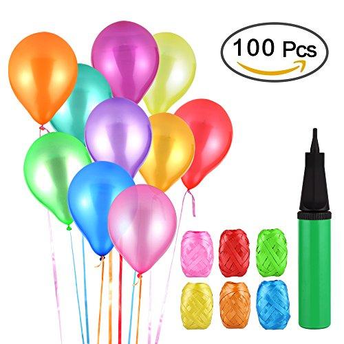 Vegkey Luftballons Bunt, 100 Luftballon und Ballonpumpe, Pumpe Luftballons Bunte Ballons, Ballon und Luftpumpe, Partyballon, Farbige Ballons für Party Geburtstags kindergeburtstag Hochzeit