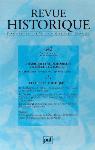 Revue historique, N° 642, 2007/2. Culture et politique / S'habiller et se déshabiller en Grèce et à Rome
