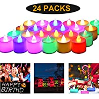 Candle Light LED Tea Light Candles, 7 Color Changing Flameless Fake Candle Decoration for Wedding, Party, Christmas, Valentine' s Day, Honeymoon, Anniversary (Battery Operated, Multi-Color, 24pcs)