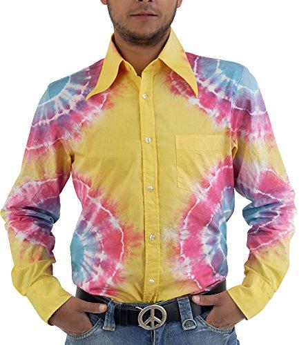 Hippie GOA Batik Hemd gelb bunt Gelb Bunt
