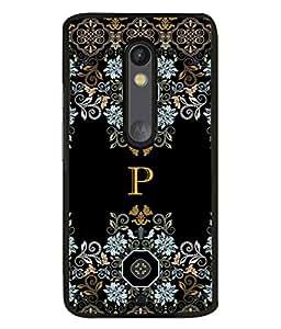 FIOBS floral pattern cloth design alphabet initial P Designer Back Case Cover for Motorola Moto X Play