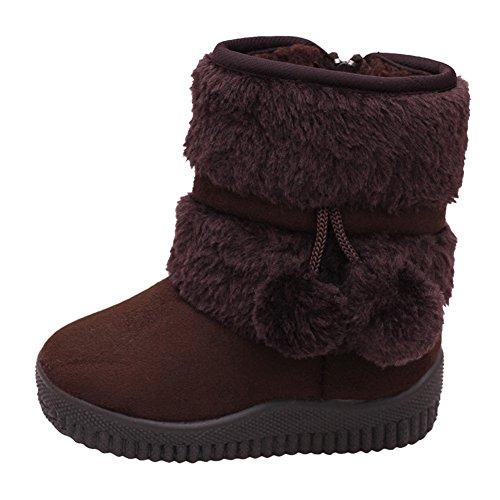 CHIC-CHIC Mädchen Winter Schuhen süße Stiefel Schneestiefel Kleinkind Warm Weiche Sohlen Schuhe Mit Haarball