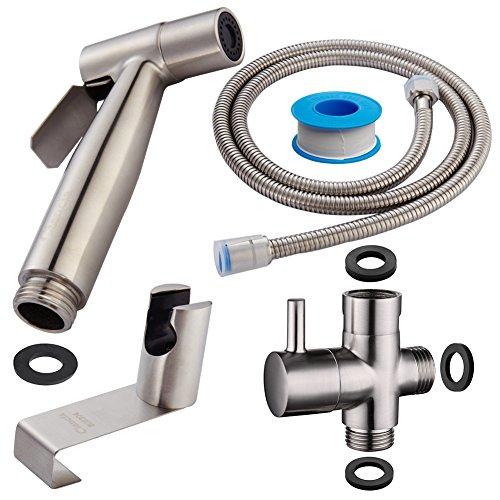 CIENCIA Bidet-Handbrause für Toilette Sprayer Premium Edelstahl Sprüher Shattaf Komplett Bidet Set für WC(WS024F)