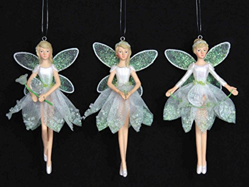 Gisela graham–set di 3angeli bucaneve 12cm fata in resina, decorazione per albero di natale