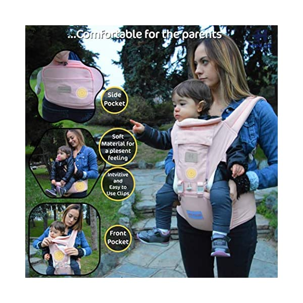HANLINE LITTLECUDDLES 3-in-1 Ergonomic Baby Carrier Backpack [4 Colours: Turquoise-Blue-Grey] - High Quality/Breathable/Easily Adjustable Fabric - for 0-3 Years Navy Blue (Pink) Hanline LittleCuddles 👶 WE ONLY USE HIGH QUALITY MATERIALS: Hanline LittleCuddles is committed to selecting high quality fabrics to make the use of our baby bags more comfortable and safe. The light cotton combined with the soft padded material which is pleasant to the touch increase the comfort of the newborn and parents. On summer days, you can open the front zip which facilitates the passage of air inside the fabric, thanks to the soft breathable mesh fabric. 📃 CERTIFIED AND TESTED SAFETY: The Hanline baby carrier features a soft HIP seat which makes your baby's position ergonomic and safety. In addition, there are various soft fabric parts that eliminate pressure on the baby's body and the wearer. 🔝 3 PRODUCTS IN 1: The ergonomic 3 in 1 baby carrier can be worn in different positions that best adapt to the different stages of growing baby. 3