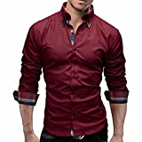 Men Shirt, Men's Plaid Shirts Male Long Sleeve Slim Fit Business Casual Shirt (L, Red)