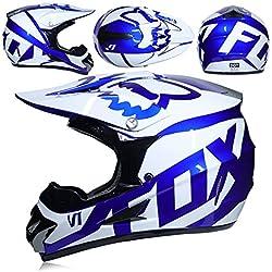 Casque de Motocross Adulte Cadeau Lunettes Masque Gants Fox Moto Racing Plein Visage Casque pour Homme et Femme,B,XL