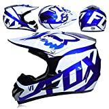 WLBRIGHT Adulti Motocross Casco Regalo Maschere Guanti Volpe Moto Racing Casco Integrale per Uomo e Donna,G,S