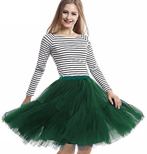 Donna balletti danza tutu gonna dell'annata cocktail swing principessa crinolina sottogonna in 5 strati organza tulle (taglia unica, verde scuro)