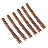 UEETEK 6pcs gatto legno naturale Stick Chew Toy salute dentale gattino spazzola denti animali delizia
