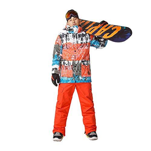 Wonny Brandneu 2 Teilig Skianzug Wasserdicht Schneeanzug Jacke und Hosen Unisex Skiset Orange S
