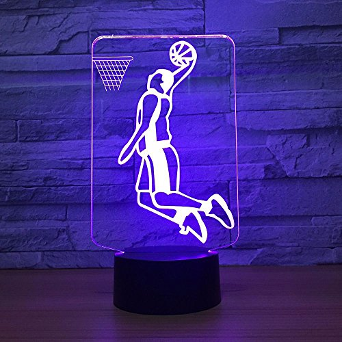 Leuchten Für Kinder,Nachtlichter,Schlummerleuchten,Slam Dunk Spielen Basketball 3D Led Lampe Beleuchtung 7 Farbwechsel Sport 3D Nachtlicht Hause Raumdekoration Beste Freunde Kind Geschenk