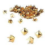 100x 5mm DIY Pyramiden Nieten Ziernieten Gothic Golden für Mantel Taschen
