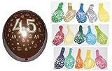 Lot 10 Ballons Métallique 45 ans Multicolore 36cm Decoration 519