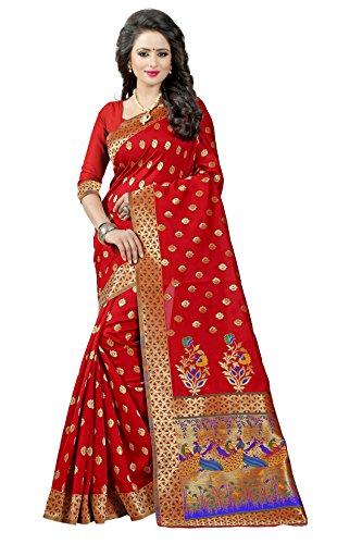 Shree Sanskruti Tassar Silk Saree With Blouse Piece (Paithani 1 Red_Red_Free Size)